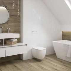 Alpine Natural Wood Effect Porcelain Wall And Floor Tiles - Bathroom Lifestyle