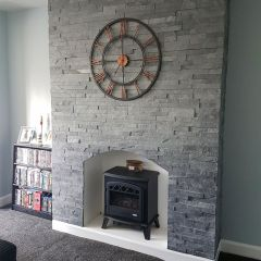Silver Grey - Large Split Face Mosaic Wall Tiles - large. Customer Project - Wood Burner