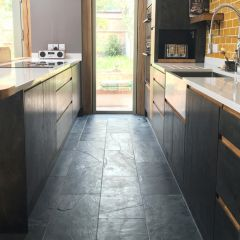 Brushed Black Slate Natural Stone Tiles - 600x300mm - Customer Image