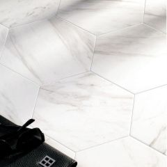 Carrara Satin Hexagon Tiles - Lifestyle