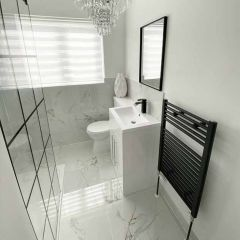 Carrara White Marble Effect 600x600mm Contemporary Bathroom