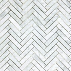 Chicago Honed Marble Chevron Mosaic  - Repeat pattern