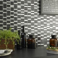 HONG KONG SILVER MIX BRICK MOSAIC WALL TILES - LIFESTYLE