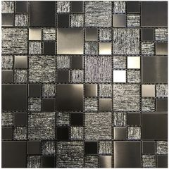 Lunar Gunmetal Grey Metal & Glass Modular Mosaic