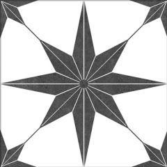 Lyra Black Star Pattern Wall and Floor Tiles - swatch