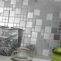 METALLIC RANDOM SILVER MIX MOSIAC WALL TILES - LIFESTYLE