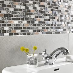 MIDAS GLASS & COPPER BRICK MOSAIC WALL TILES - LIFESTYLE