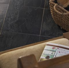 NATURAL BLACK SLATE TILES - 300X300MM - LIFESTYLE