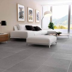 New York Medium Grey Porcelain Wall And Floor Tiles - 600x600mm - Lifestyle
