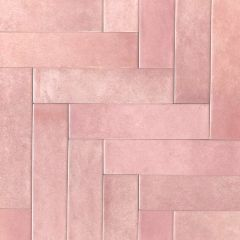 Paris Rose Brick Wall Tiles - Herringbone