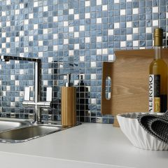 SLATE SILVER BLACK SQUARE MOSAIC WALL TILES