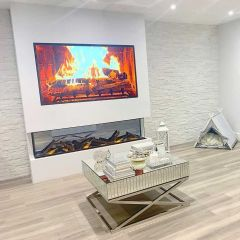 Sparkle White Split Face Mosaic in cinema room setting