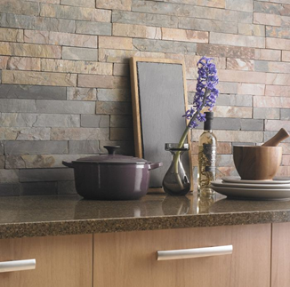 Sheera split face tiles in a kitchen setting